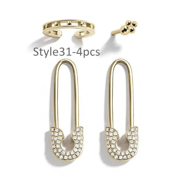 Style 31 CZ Diamond Big C Color Ear Cuff Stackable 4pcs/set