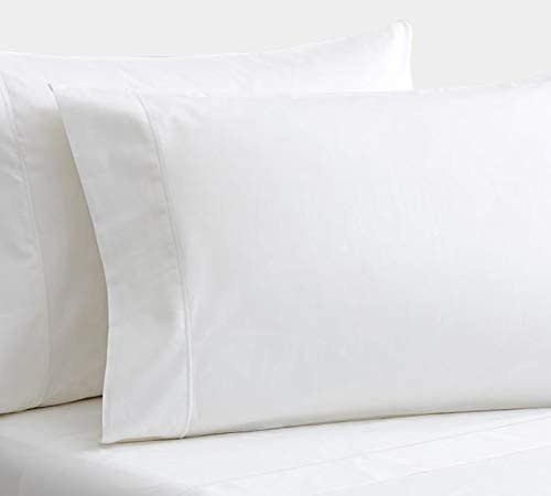 Westbrooke Linens 500 Thread Count 100% Long-Staple Cotton Pleated Hem Pillowcase, Solid Sateen Weave, Wrinkle Free, Hotel Collection, Luxury Bedding Pillowcase (Standard, White)