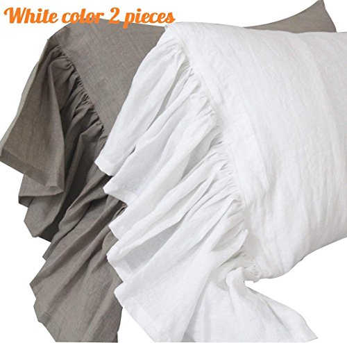 Queen's House Linen Pillowcases King Size White Shams Pillow Covers Set of 2-White