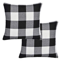 Gysan Decorative Lined Linen Square Throw Pillow Cases Protectors Christmas Cushion Covers for Sofa Christmas Pillow Covers Add Your Design, Set of 4, Light Linen