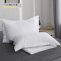 King Linens 100% Belgian Linen Pillowcases Stone Washed Solid Color Embroidery(Queen,White)