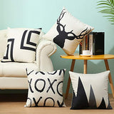 Confoel 4 Throw Pillow Covers.100% Linen Modern Nordic Style Black Beige Decorative Pillow case Home Design Sofa Bed car Cushion 18 x 18 inches (Color-5)