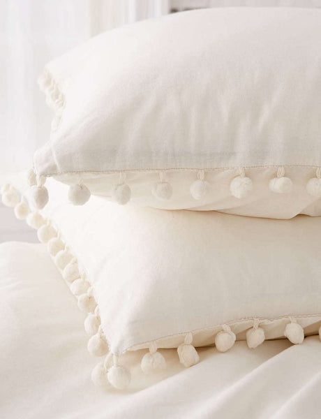 Pom-Fringe Sham Set Cotton Pillow Covers,18.9in x29.1in,Set of 2