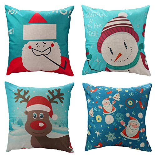 WEYON Christmas Pillow Covers 18 x 18 Inches, Cotton Linen Throw Pillow Cases for Home Sofa Couch Party Car Decor, 4 Pack