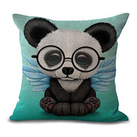 Aremazing Cartoon Lovely Animals Pillow Cases Elephant Baby Wearing Glasses Cotton Linen Home Decor Pillowcase with Red Background Throw Pillow Cushion Cover 18 x 18 Inches (Elephant/Red)