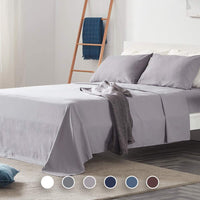 SLEEP ZONE Bed Sheet Sets Temperature Regulation Soft Wrinkle Free Fade Resistant Easy Sheets 4 PC, Gull Gray,Full