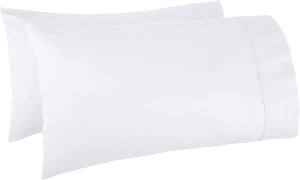 AmazonBasics 400 Thread Count Cotton Pillow Cases, Standard, Set of 2, White