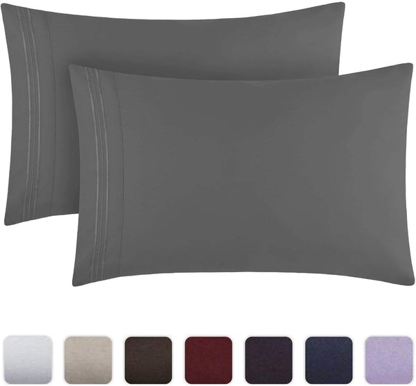 Mellanni Luxury Pillowcase Set - Brushed Microfiber 1800 Bedding - Wrinkle, Fade, Stain Resistant - Hypoallergenic (Set of 2 King Size, Gray)