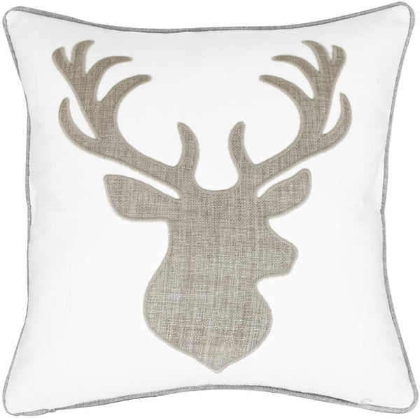 Millianess Deer Head Pillow Case Decorative Cotton Linen Embroidered Cushions Covers 18x18 Inches (Grey)