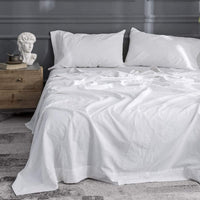 Simple&Opulence Belgian Linen Sheet Set Solid Color - King Size - 4 Pieces (1 Flat Sheet & 1 Fitted Sheet & 2 Pillowcases) Natural Flax Cotton Blend Soft Bedding Breathable Farmhouse - White