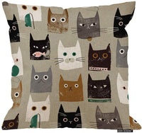 HGOD DESIGNS Decorative Pillow Sham Cotton Linen Square Unique Printed Lovely Cat Pattern Throw Pillow Case Cushion Cover 18 X 18 Inches
