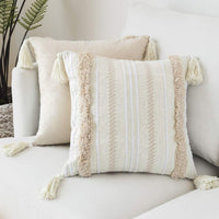Tiffasea Decorative Throw Pillow Cover Accent Neutral Pillow Case Boho Tufted Pillow Sham with Tassels Cushion Cover Home Decor for Farmhouse Bedroom Living Room (20x20 Inch, Cream)
