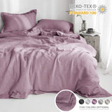Simple&Opulence 100% Linen Duvet Cover Set Pure Solid Color Embroidery Border Twin Full Queen King (Multi-Colored Options) (Euro Shams, Linen)