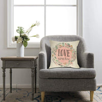 Softxpp Love Grows Here Spring Throw Pillow Cover, Decorative Farmhouse Cushion Case Quotes Flower Wreath Sign, Rustic Home Square Pillowcase Decor Couch Decorations for Home Cotton Linen 18'' x 18''