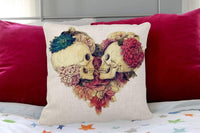 "oFloral Cotton Linen Square Decorative Throw Pillow Case Cushion Cover 18"" x 18"" Two Skulls in Love"