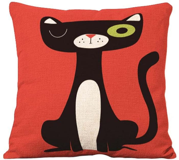YOUR SMILE Squint Cat Cotton Linen Square Decorative Throw Pillow Case Cushion Cover 18x18 Inch(44CM44CM) (Color#14)