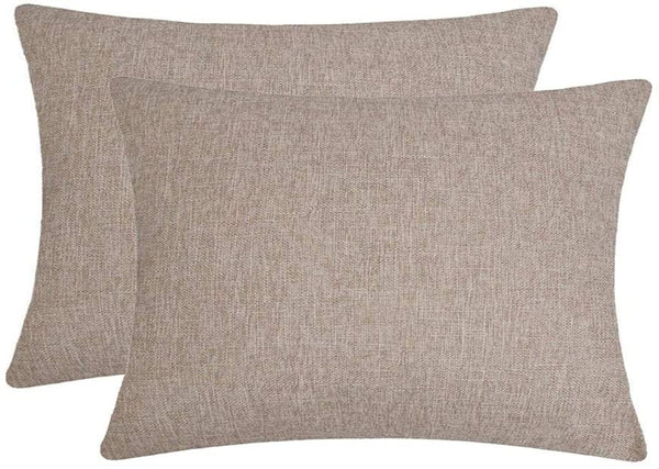 Jepeak Comfy Throw Pillow Covers Cushion Cases Pack of 2 Cotton Linen Farmhouse Modern Decorative Solid Rectangular Pillow Cases for Couch Sofa Bed (Light Brown, 16 x 24 Inches)