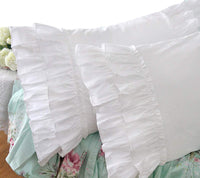 Queen's House Shams King Shabby Vintage White Embroidery Lace Ruffle Pillowcase Pillow Sham-1 Piece