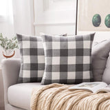 MIULEE Pack of 2 Classic Retro Checkers Plaids Cotton Linen Soft Solid Black and White Decorative Throw Pillow Covers Home Decor Design Cushion Case for Sofa Bedroom Car 22 x 22 Inch 55 x 55 cm
