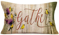 Royalours Vintage Wood Grain Background with Birds Floral Decorative Pillow Covers Cotton Linen Square Throw Pillow Case Gather Quote Cushion Covers Oblong Rectangle Pillowcase 20x12 Inches (HVD03)