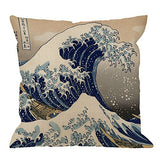 HGOD DESIGNS Wave Pillow Case, Japanese Hokusai The Great Wave of Kanagawa Cotton Linen Cushion Cover Square Standard Home Decorative Throw Pillow for Men/Women 18x18 inch Brown White …