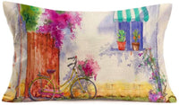 "Fukeen Watercolor Bicycle Flower Throw Pillow Covers Spring Summer Succulent Plants Rustic Farmhouse Decorations Pillow Cases Cotton Linen Waist Lumbar Pillowcase 12""x20"