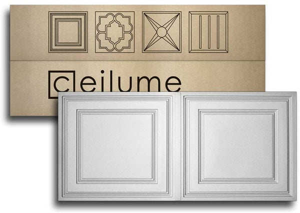 "Ceilume 12 pc Stratford Ultra-Thin Feather-Light 2x4 Lay in Ceiling Tiles - for Use in 1"" T-Bar Ceiling Grid - Drop Ceiling Tiles (12 Tiles, White)"