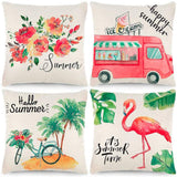 CDWERD 4pcs Summer Throw Pillow Covers 18x18 Inches Summer Decorations Ice Cream Truck Bike Flamingo Flower Farmhouse Pillowcase Cotton Linen Cushion Case for Car Sofa Bed Couch
