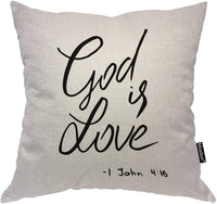 Moslion Throw Pillow Cover Inspirational Quote 18x18 Inch with God is Love Christian Lettering Bible Verse Square Pillow Case Cushion Cover for Home Car Decorative Cotton Linen