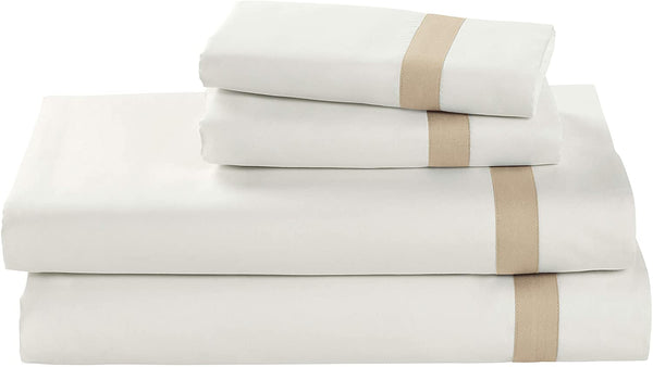 Stone & Beam Banded 100% Percale Cotton Bed Sheet Set, Easy Care, Queen, Linen