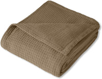 Sweet Home Collection 100% Fine Cotton Luxurious Basket Weave Blanket, Ivory