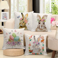 Johouse Easter Pillow Covers, 4 Linen Easter Bunny Upholstered Sofa Pillowcases, Welcome Easter Egg Rabbit Decorative Pillow Cases,18 x 18 inch
