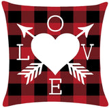 Valentines Love Throw Pillow Covers 18 x 18 Inch Cushion Case,Set of 2 Red Buffalo Plaid Truck Loads of Love Cotton Linen Home Decorative Pillowcases for Sofa,Couch,Bed,Patio