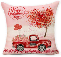 Hexagram Valentine's Day Throw Pillow Cover Cushion Case, Decorative Cotton Linen Square Pillow Case 18 x 18 Inch for Sofa Couch Home Decor Love Tree Red Truck Valentines Gift for Women Men Beloved