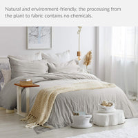 Bedsure 45% Cotton 55% Linen Duvet Cover Queen with 2 Pillow Shams - Full Size(90x90 inches), 3 Pieces Ultra Soft Breathable Beding Comforter Cover Sets with Button Closure, Greige Natural Color