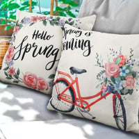 CDWERD 4pcs Spring Pillow Covers 18x18 Inches Flower and Bicycle Spring Decorations Floral Farmhouse Throw Pillowcase Cotton Linen Cushion Case for Home Decor