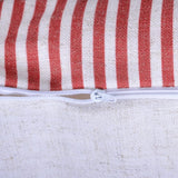 King Rose Red Stripes Buttons Linen Blend Decorative Accent Throw Pillow Cases Cushions Covers for Sofa Couch Bed 16 x 24 Inches