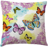 7COLORROOM Watercolor Flower Butterfly Pillow Cover Tropical Plants Leaves Cushion Cover Decorative Square Pillowcases Cotton Linen Cushion Cover 18 X 18 Inch 4 Pack (Butterfly)