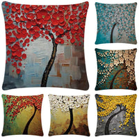 Faylapa 6 Pack Oil Painting Cotton Linen Pillow Cases,Decorative Tree & Flower Cushion Cover Pillowcase Indoor Sofa Decorations 18×18 Inches (45×45cm)(Case ONLY)