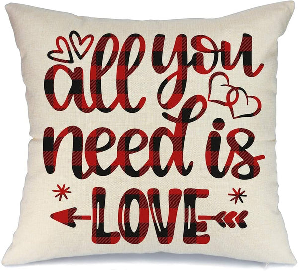 AENEY Valentines Pillow Cover 18x18 for Couch All You Need is Love Red Black Buffalo Check Plaid Happy Valentine's Day Decorations Throw Pillow Home Decor Pillowcase Faux Linen Cushion Case Sofa A184