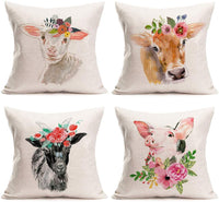 Easternproject Flower Leaves Animal Pillow Covers 18x18 Inch Cute Baby Sheep Farmhouse Spring Decorative Throw Pillow Cases Cotton Linen Home Room Sofa Couch Decor Cushion Cover