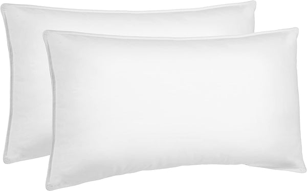 AmazonBasics Down Alternative Bed Pillows for Stomach and Back Sleepers, Set of 2, Soft Density, King