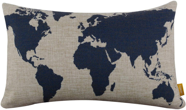 "LINKWELL Burlap Linen Dark Blue World Map 18"" X 11"" Decorative Cushion Cover Pillow Case"