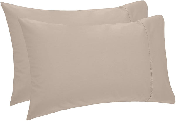 Pinzon 400 Thread Count Egyptian Cotton Sateen Hemstitch Pillow Cases - Set of 2, King, Taupe