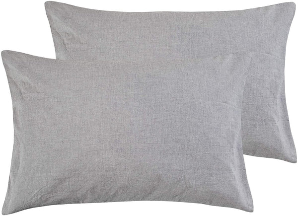 NTBAY Queen Size Stone Washed Cotton Pillowcase, 2-Pack Reduces Allergies and Respiratory Irritation Vintage Style Breathable Pillow Cases, 20 x 30 Inches, Grey