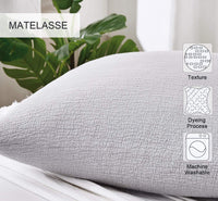 "PHF Cotton Matelasse Weave Euro Sham Cover Cushion Covers for Winter Pack of 2 26"" x 26"" for Sofa Bedroom Couch Light Grey"
