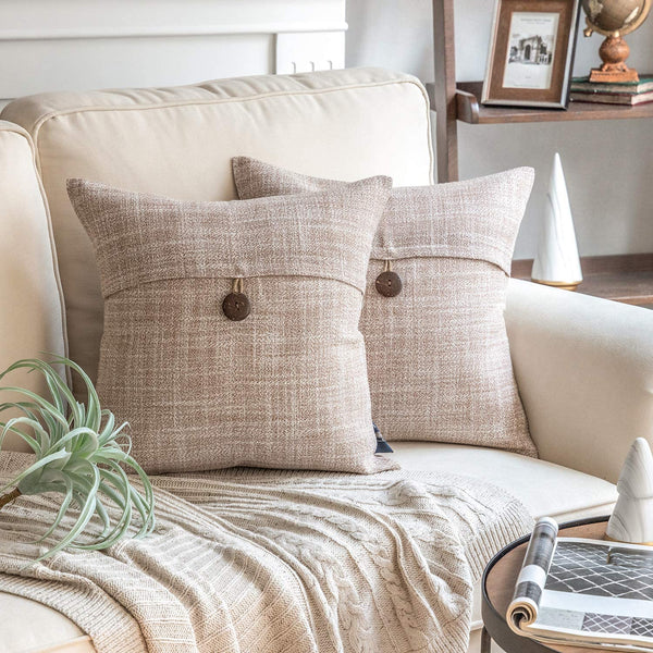 "Phantoscope Set of 2 Button Beige Linen Decorative Throw Pillow Case Cushion Cover 18""X18 -New!!"