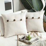 Phantoscope Farmhouse Throw Pillow Covers Triple Button Vintage Linen Decorative Pillow Cases for Couch Bed and Chair Off White, 20 x 20 inches 50 x 50 cm, Pack of 2