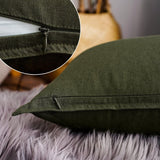 "18""x18"" Solid Cotton Linen Decoration Green Throw Pillow Case with Zipper Euro Sham Cushion Case Cool Pillow Cover Delicate Decorative Pillowcase for Chair/Bed/Couch, (45 x 45cm),2 Packs, Olive Green"