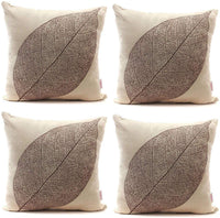 "Luxbon Set of 4Pcs Rustic Farmhouse Leaves Decor Cotton Linen Throw Pillow Cases Sofa Couch Chair Decorative Cushion Covers 18""x18"" / 45x45cm Insert Not Included"